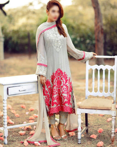 Serene Chiffon Collection With Embroidered Chiffon Dupatta (Replica)(Unstitched)