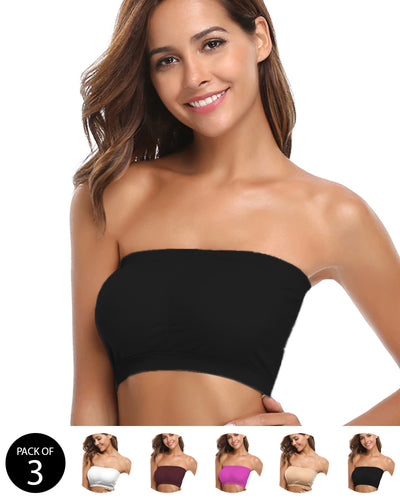 Pack of 3 - Sexy Tube Padded Top Bandeau Stretchable Strapless Bra