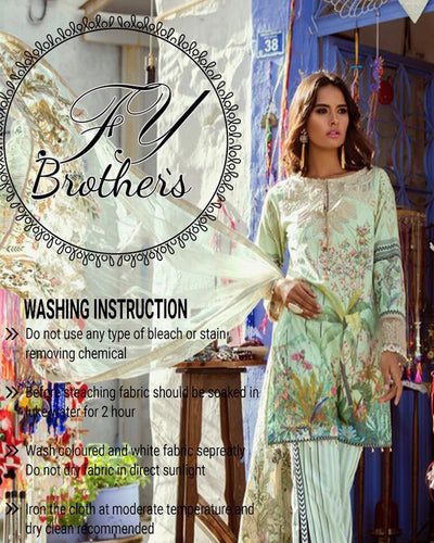 Shiza Hassan Lawn With Net Full Heavy Embroidered Dupatta with Hand Work Tassal's (Replica)(Unstitched)