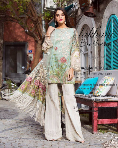 Shiza Hassan Lawn Digital Collection With Net Dupatta 2 Side Pallu Embroidered (Replica)(Unstitched)