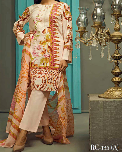 Sana & Sara Collection With Printed Chiffon Dupatta RC-125-A (Original)(Unstitched)