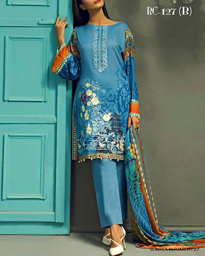 Sana & Sara Collection With Printed Chiffon Dupatta RC-127-B (Original)(Unstitched)