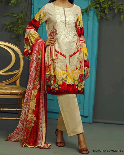Sana & Sara Collection With Printed Chiffon Dupatta RC-128-A (Original)(Unstitched)