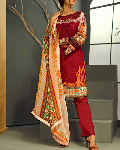 Sana & Sara Collection With Printed Chiffon Dupatta RC-126-A (Original)(Unstitched)