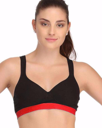 Black and Red Sports Bra - Ladies Gym Bra - Sports Bra - Padded Sports Bra - Bras - diKHAWA Online Shopping in Pakistan