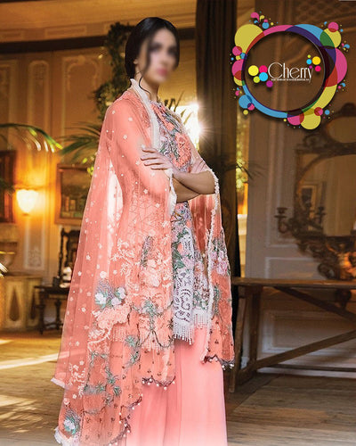 Sobia Nazir Lawn With Net Embroidered Dupatta With Aplic Pearls (Replica)(Unstitched)