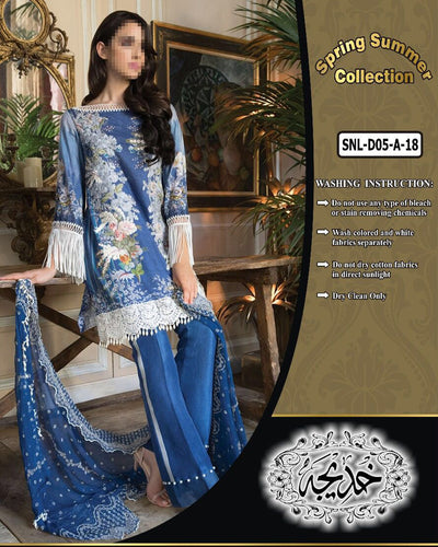 Sobia Nazir Lawn Collection With Chiffon Embroidered Dupatta SNL-D05-A (Replica)(Unstitched)