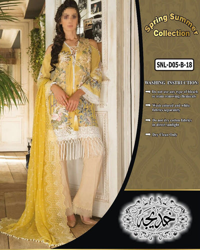 Sobia Nazir Lawn Collection With Chiffon Embroidered Dupatta SNL-D05-B (Replica)(Unstitched)