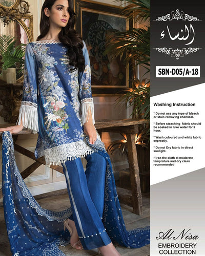 Sobia Nazir Lawn Collection With Chiffon Embroidered Dupatta SBN-D05/A (Replica)(Unstitched)