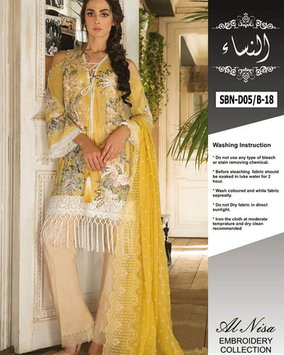 Sobia Nazir Lawn Collection With Chiffon Embroidered Dupatta SBN-D05/B (Replica)(Unstitched)