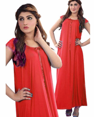 Red - FL-0026 - Flourish Nightwear - Nighty - diKHAWA Online Shopping in Pakistan