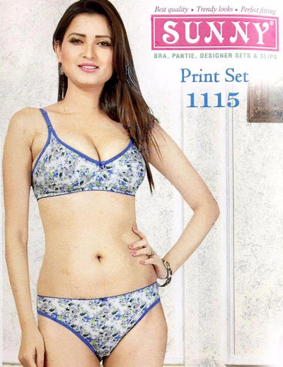Sunny Print Set 1115 - Bra Panty Set - Bra Panty Sets - diKHAWA Online Shopping in Pakistan