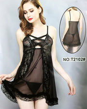 Women's Short Lace Lingerie Babydoll Sheer Gown Chemise Mesh Nightdress - T2102#