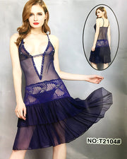 Women's Short Lace Lingerie Babydoll Sheer Gown Chemise Mesh Nightdress - T2104#