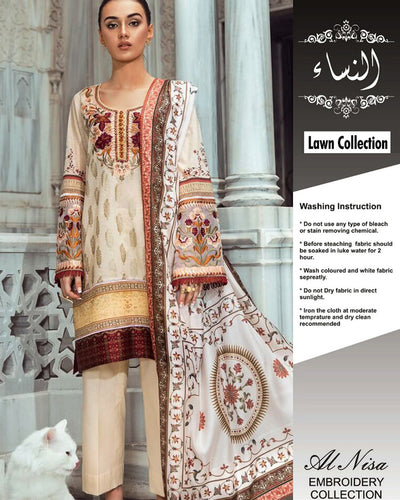 Tina Durani Lawn With Chiffon Dupatta (Replica)(Unstitched)