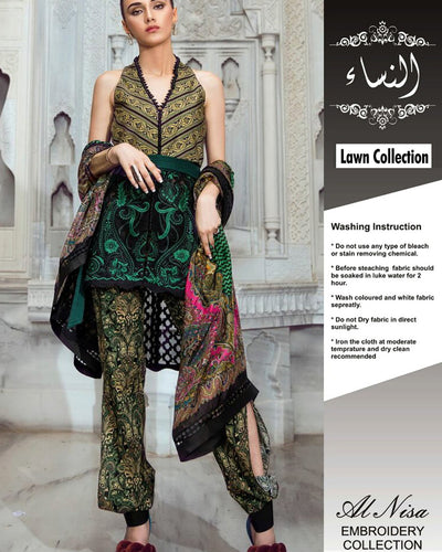 Tina Durrani Lawn With Cotton Net Dupatta (Replica)(Unstitched)