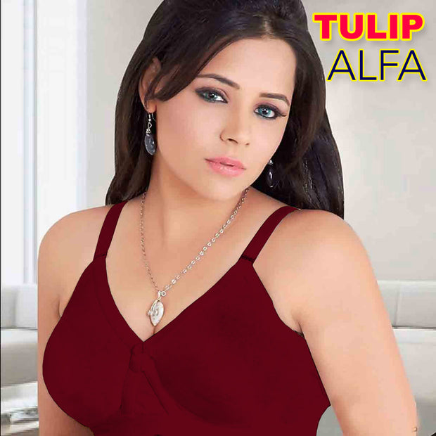 Alfa Bra - Tulip Bra - T-Shirt Bra-  Soft Cotton Bra - Non Padded Non Wired Bra