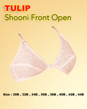 Shooni Front Open Bra - Tulip Bra - Embroidered Bra - Non Padded Non Wired