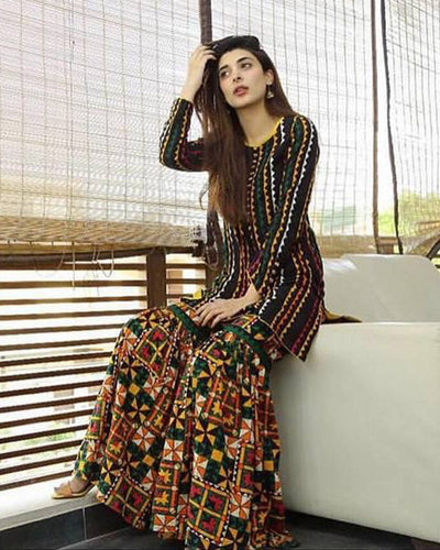 2a3c4d0bbb Traditional Design Two Piece Lawn Embroidered Shirt With Embroidered  Trouser (Replica)(Unstitched)