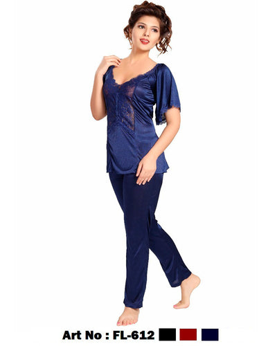 2 Pcs FL-612 - Blue Flourish Exclusive Bridal Nighty Set Collection