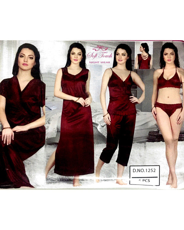 Hot Maroon Bridal Nighty Sets  - 6 Pcs Set - 1252