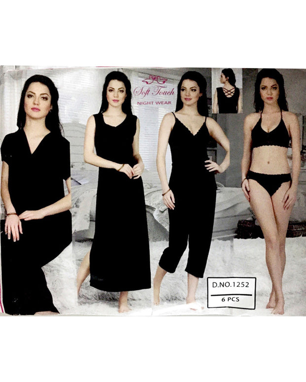 Hot Black Bridal Nighty Sets  - 6 Pcs Set - 1252