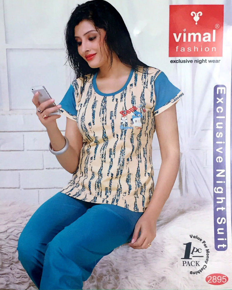 Vimal 2895 T-Shirt & Pajama Set - Premium Printed Women's Wear