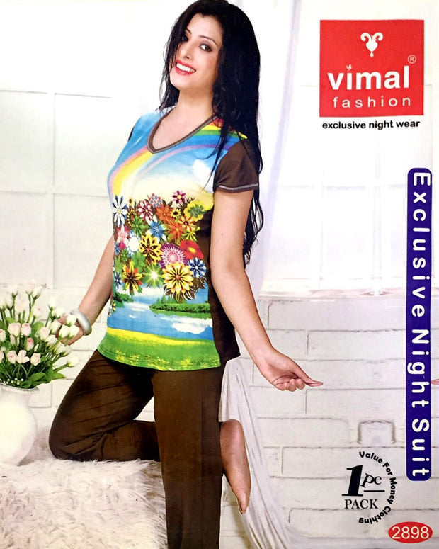Vimal 2898 T-Shirt & Pajama Set - Premium Printed Women's Wear