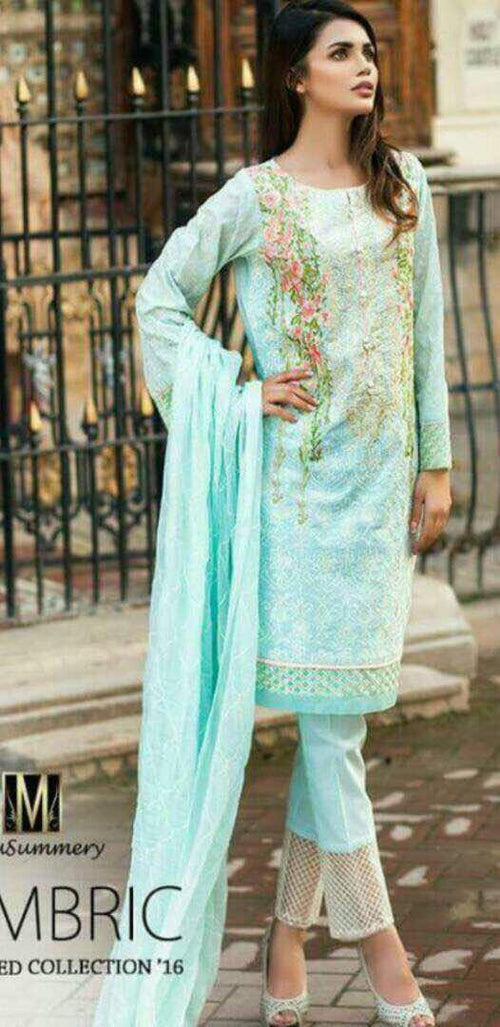 Mausummery Chiffon Embroidered Suit