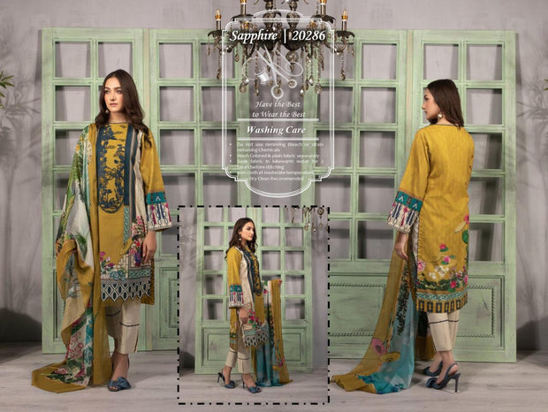 SAPPHIRE EMBROIDERED LAWN DUPPATTA  COLLECTION  Pure Lawn With chiffon Duppatta 💯
