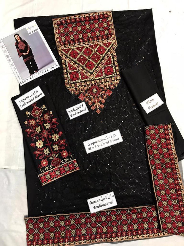Kayseria 2pc Shirt Embroridered & Trouser Collection Fabric Lawn 2020