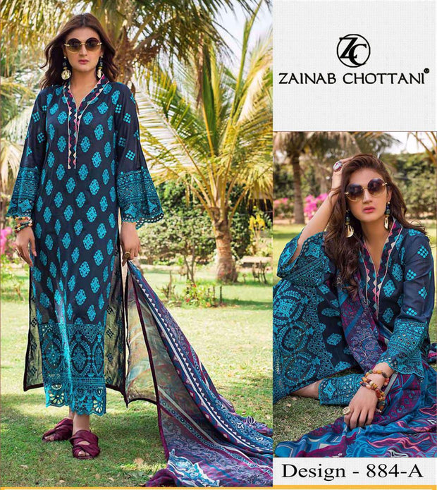 Zainab Chottani Cut Work ChikanKari Exclusive Lawn Embroidered Summer Eid  Collection 2020