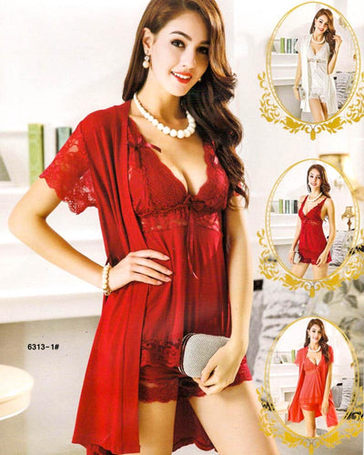 3 Pcs Sexy Short Nighty - 6313