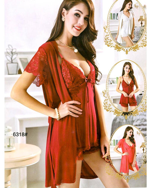 3 Pcs Sexy Short Nighty - 6318