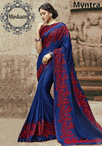 Myntra Embroidered Chiffon Saree 2019-Blue(Replica)(Unstitched)