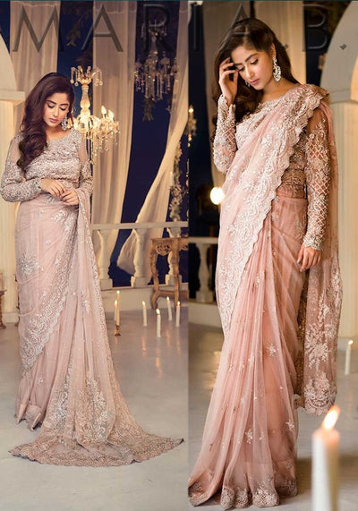 Maria B-Embroidered Saree 2019 MCT-2(Replica)(Unstitched)