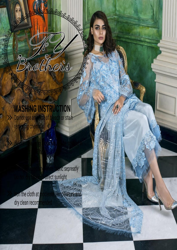 Honey Chiffon Collection EMBROIDERED COLLECTION (Replica)(Unstitched)
