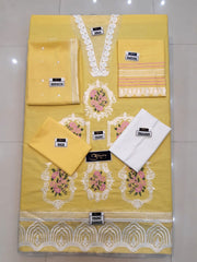 AMMARA KHAN Casual Wear Made On Cotton With Chiffon Dupatta - Yellow
