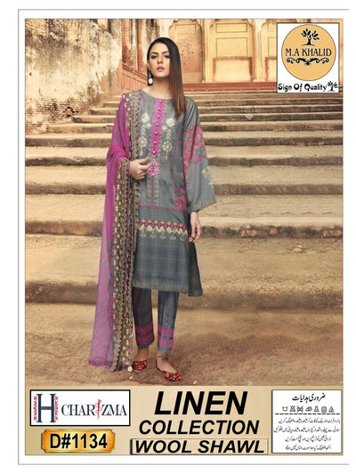 Nishat Linen Winter Collection 2019 with Wool Shawl