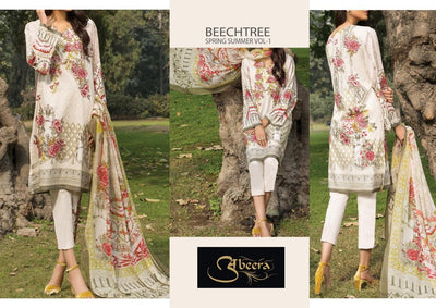 Beach tree 80/80 pure lawn with printed chiffon dupatta