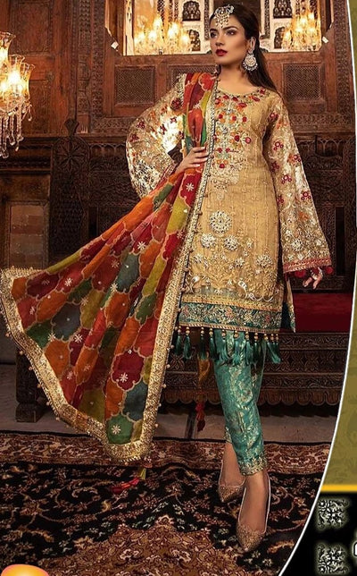 MARIA.B COLLECTION FULL SUITE HAND WORK WITH SILK DUPATTA