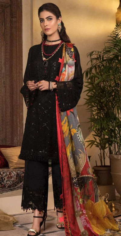Saphire Black Onyx *Sequence Work Embroidery * Chiffon With Silk Digital Printed Dupatta