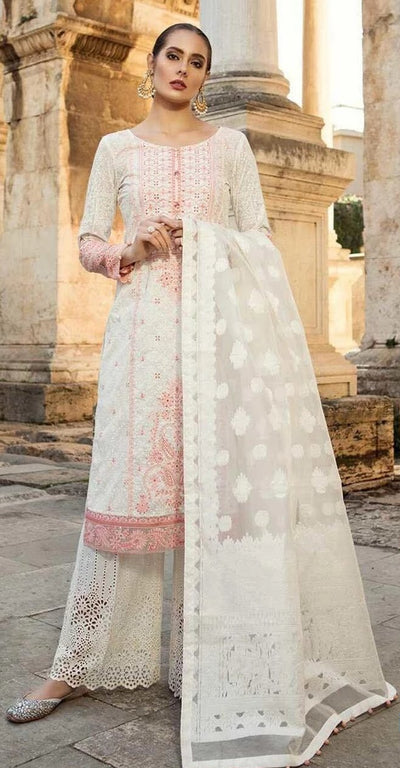 Maria B D01 Sequence Work Embroidery Lawn With Chiffon Embroidered Dupatta