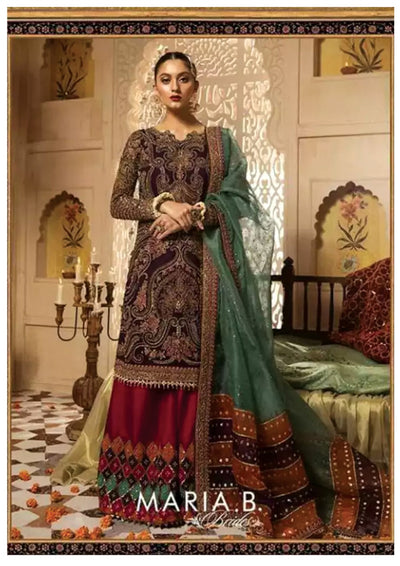 MARIA.B BRIDAL COLLECTION FABRIC  CHIFFON (SHIRT)  NET (DUPATTA)  MALAI (TROUSER)