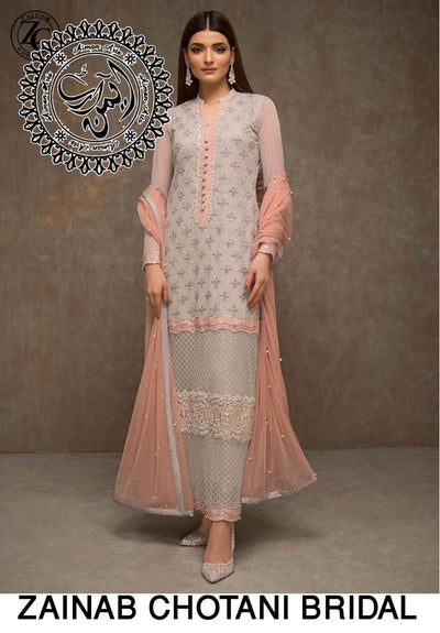 Zainab Chottani Chiffon Embroidery Suit Net Embroidered Dupatta