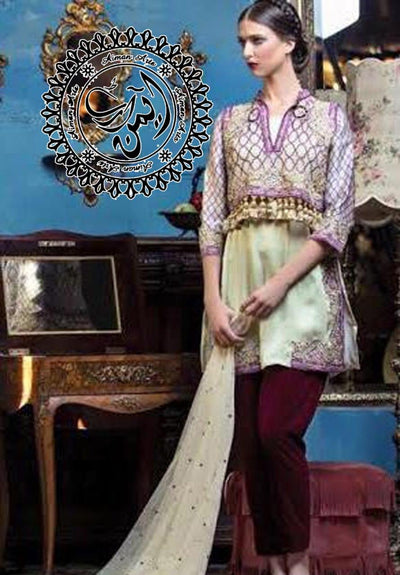 Maria B Chiffon Embroidery Suit Chiffon Embroidered Dupatta
