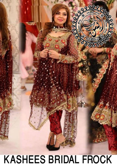 Kashee's Chiffon Embroidery Suit Net Embroidered Dupatta