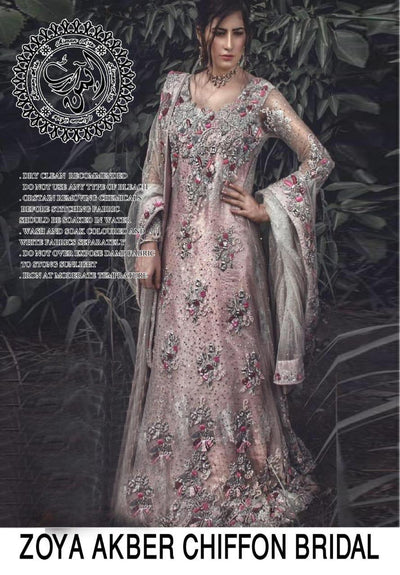 Zoya Akbar  Chiffon Embroidery Suit Net Embroidered Dupatta