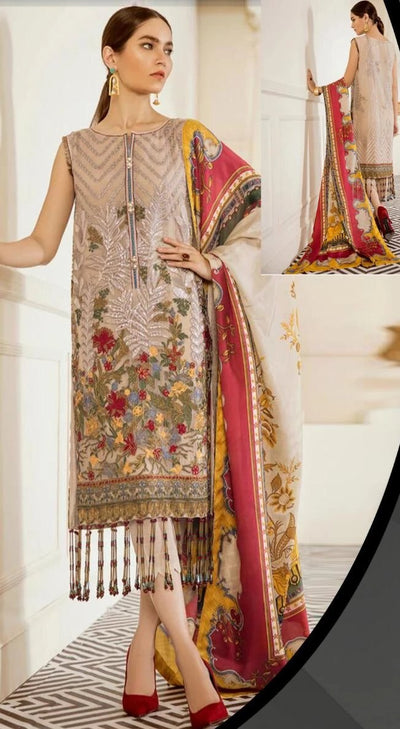 Baroque Chiffon Embroidery Suit Silk Embroidery Duppata