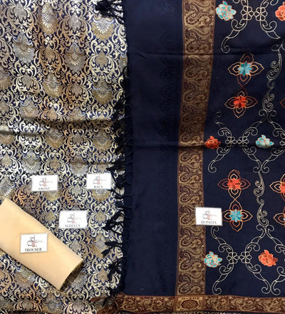 INDIAN Suits  Unstitched banarsi shirt 👚   maysori trouser 👖  Kashmiri Shawl 🧣Embroidery 🧵 duppata. Ready 2 Wear